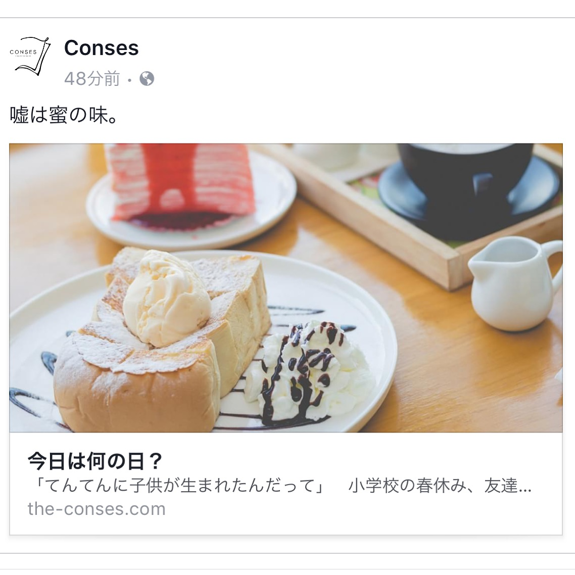 【 THE CONSES 】「嘘」をテーマに書きました。